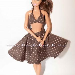 barbie ruha barna rozsaszin pöttyös harangszoknya