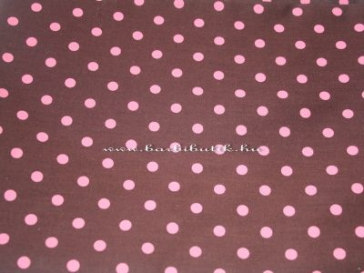 barna pink pöttyös pamutvászon
