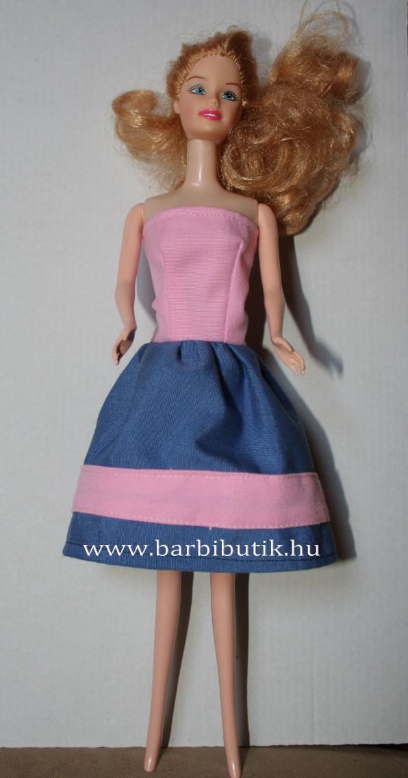 kék rózsaszín barbie ruha szoknya csíkdísszel