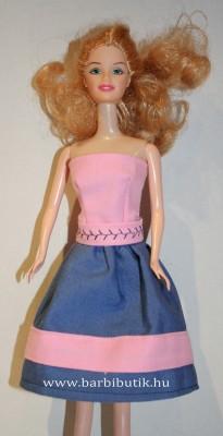 kék rózsaszín barbie ruha hímzett övvel