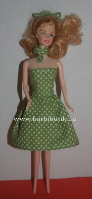 zöld pöttyös barbie ruha sállal