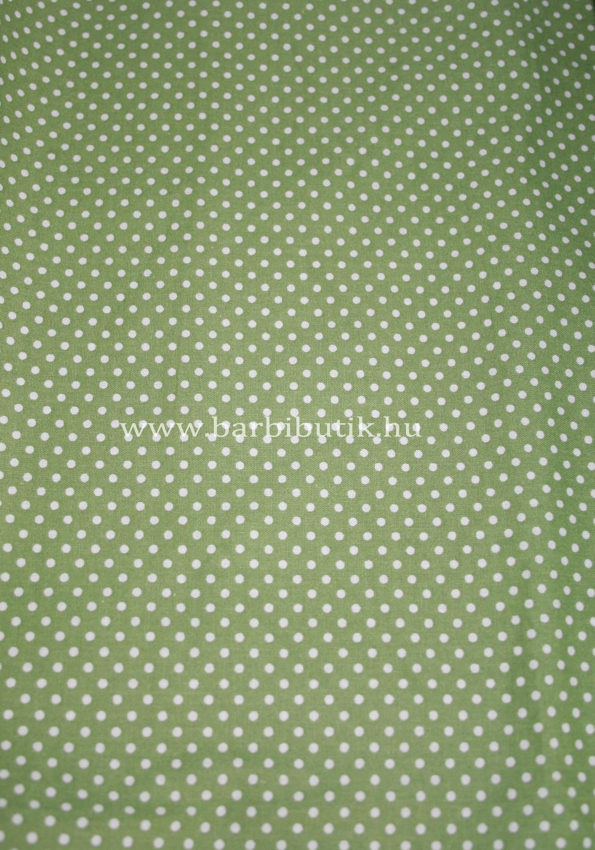 zöld textil fehér pöttyökkel