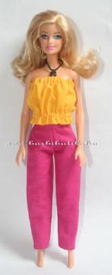 sárga gumisbarbie top pink nadrág