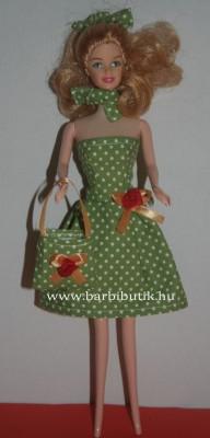 zöld pöttyös barbie ruha pánt nélkülli táska sál hajkötő