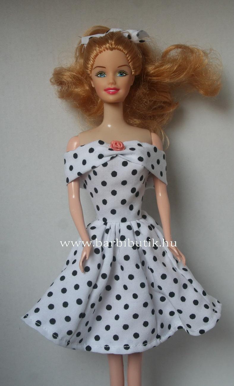 fekete feher pottyos ejtett vallu barbie ruha