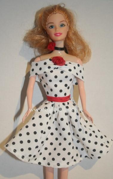 fekete feher pottyos ejtett vállu barbie ruha