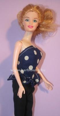 kék fehér pöttyös barbie  top alul fodor 2