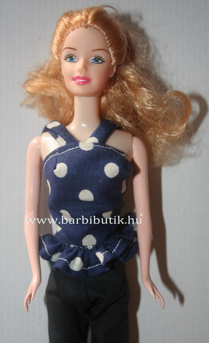 kék pöttyös barbie top vékony pánttal középen