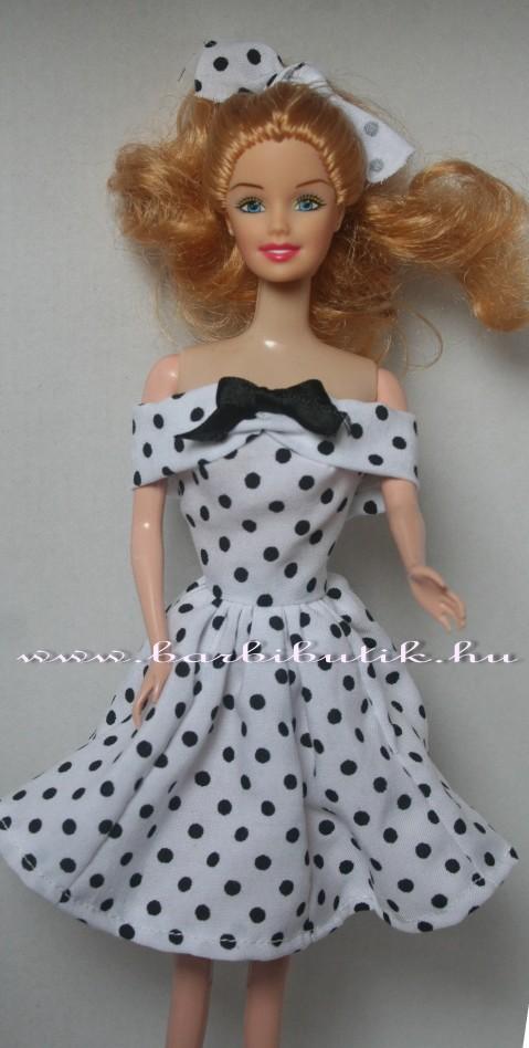 barbie ruha fekete fehér pöttyös fekete masni