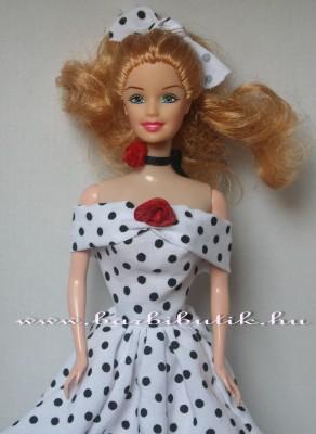 fekete fehér pöttyös ejtett vállú barbie ruha