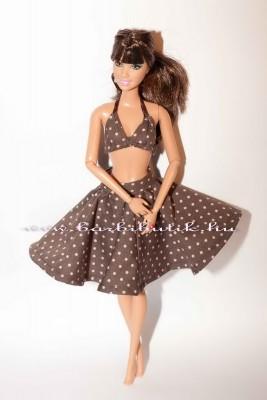 teresa barbie  barna rozsaszin pöttyös szoknyában