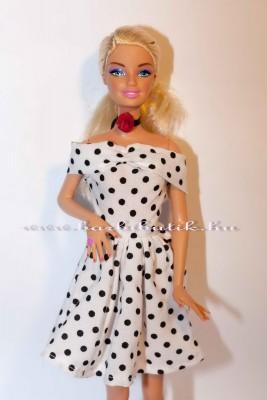 barbie ruha fekete fehér pöttyösben