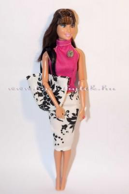 teresa barbie baba pink felső fekete fehér virágos szoknya táska