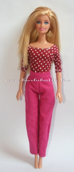 barbie ruha csónaknyakú felső nadrággal