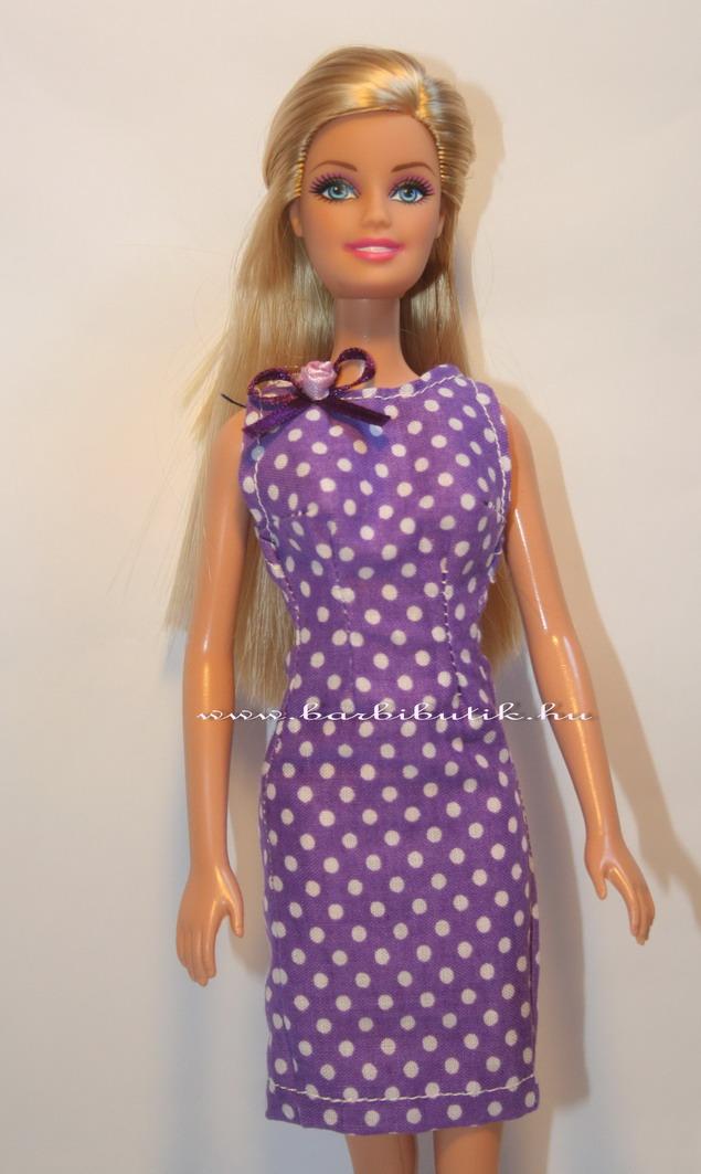 barbie ruha lila pöttyös szűkített