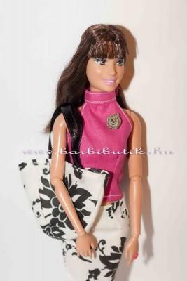 fekete fehér barbie táska szoknya együttes