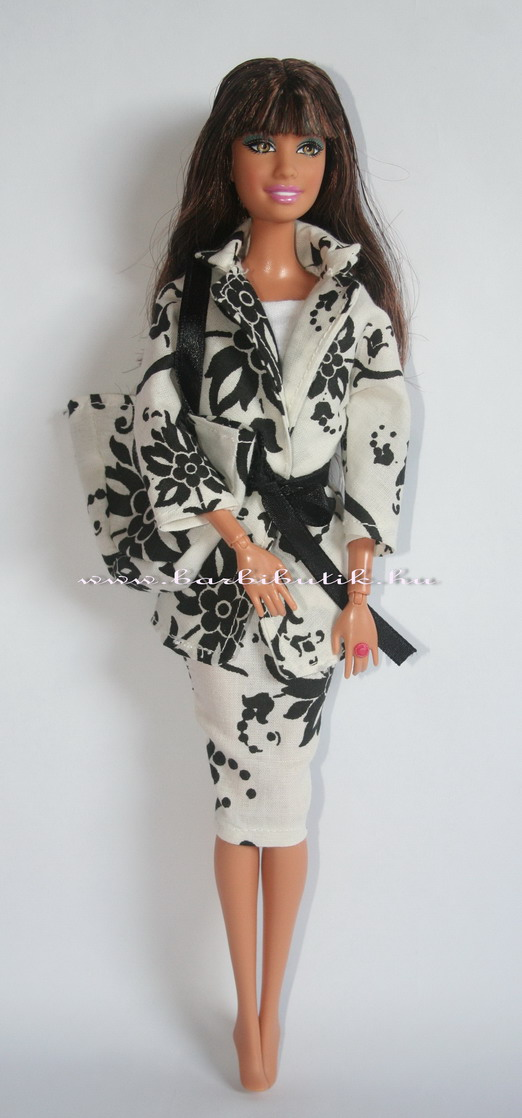 fekete fehér szoknya kabát övvel együttes