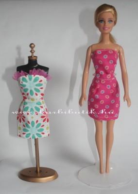 pink mintás barbie ruha és próbababa