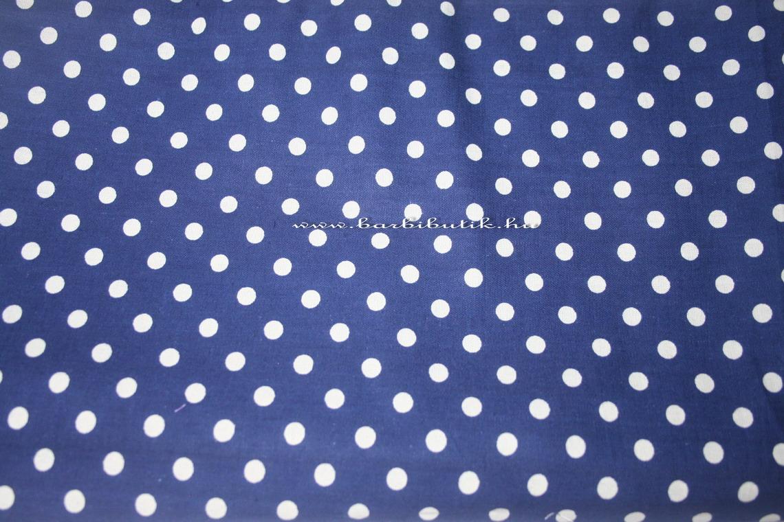 kék fehér pöttyös pamutvászon