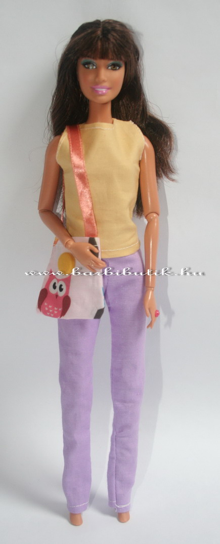 Barbie nadrág lila sárga felső táskával