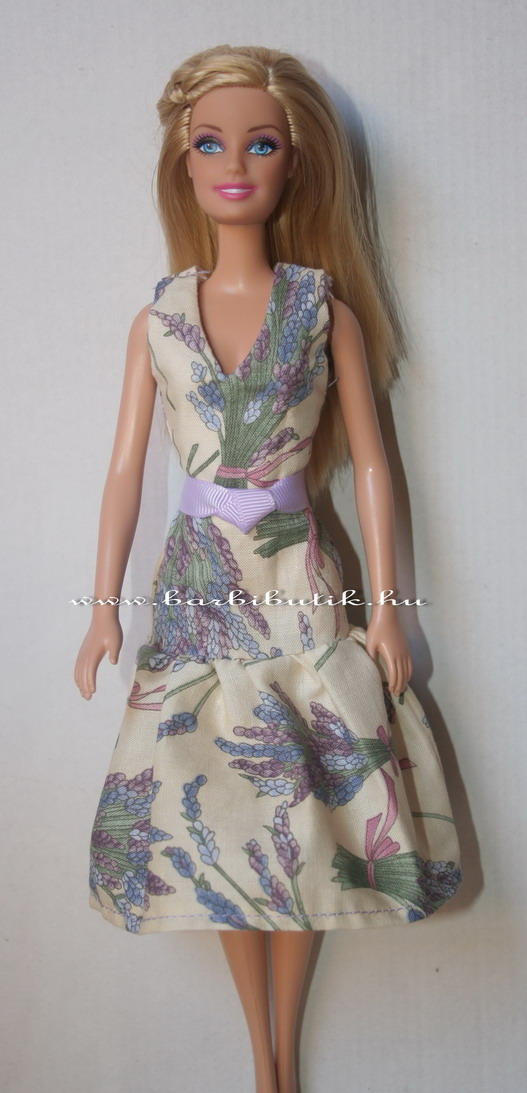levendulás barbie ruha övvel