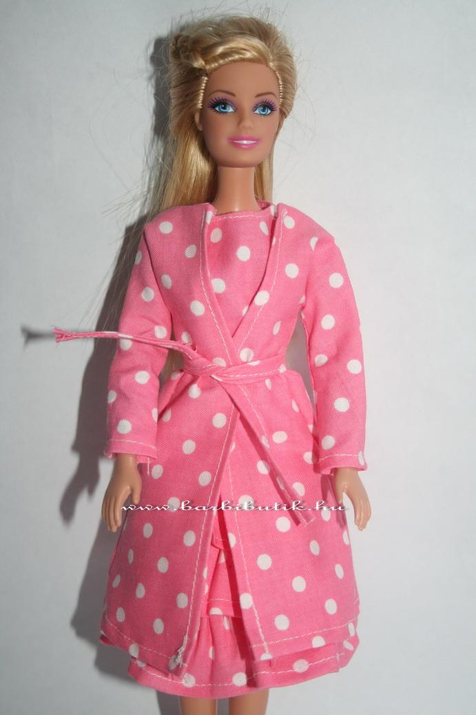 fodros pöttyös barbie ruha kabáttal, övvel