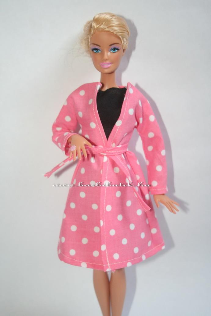 tavaszi barbie kabát övvel fekete ruhával