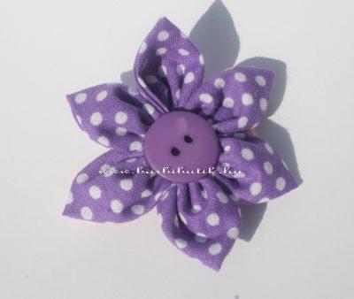lila pöttyös virág haj csat
