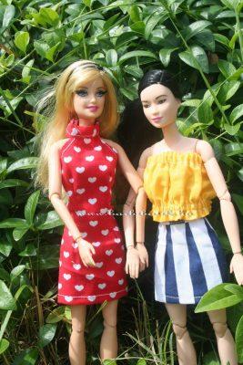 Barbie szűk szoknya gumis top