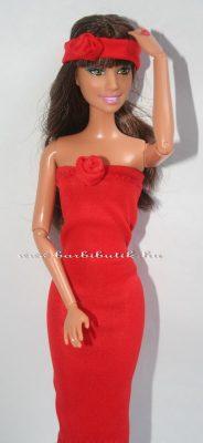piros barbie csőruha hajpánttal