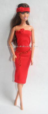 piros barbie csőruha hajpánttal kesztűvel