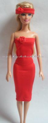 piros barbie csőruha rugalmas anyagból