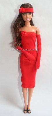 piros barbie csőruha kesztyű csizma
