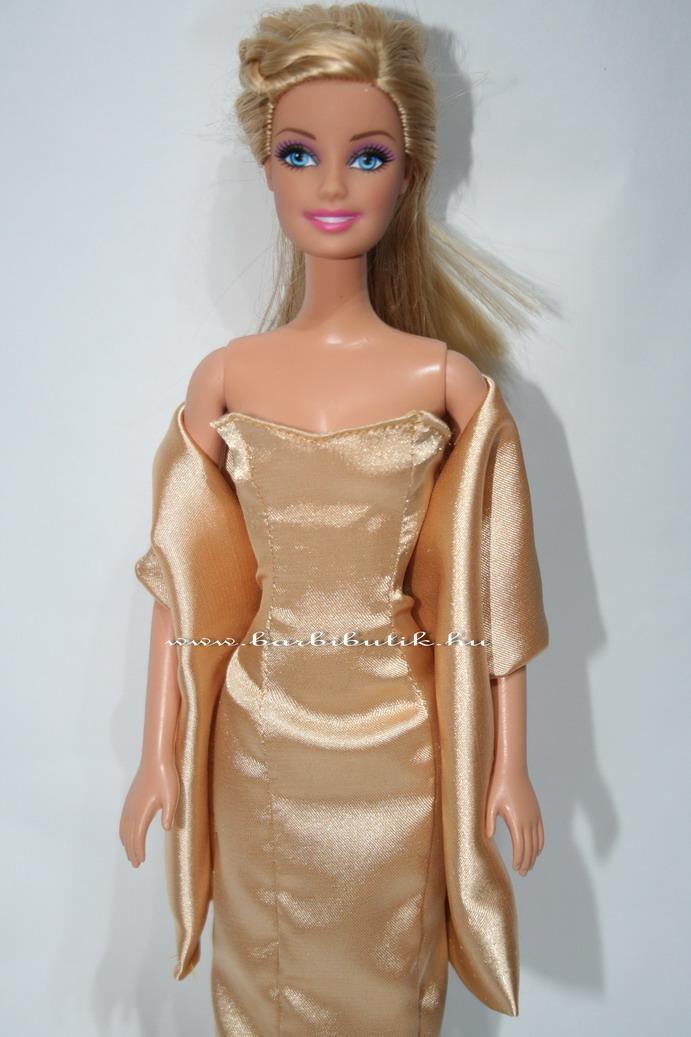 barbie estélyi ruha szatén arany stolával3