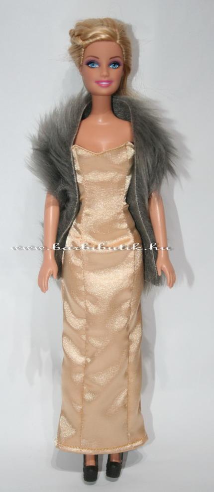 barbie estélyi szatén arany szörme stolával