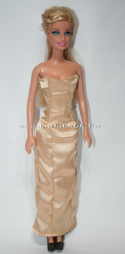 barbie estélyi ruha szatén arany