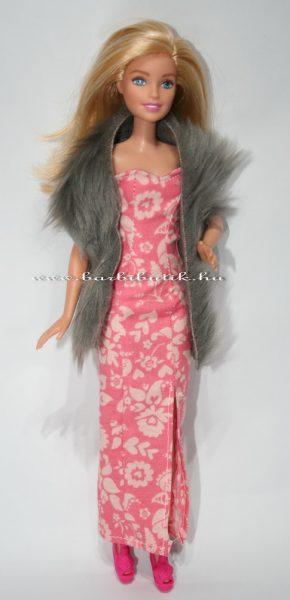 barbie estélyi ruha virágos hasítékkall szörme