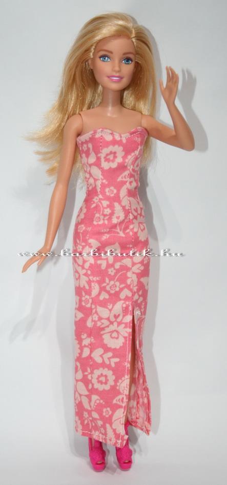 barbie estélyi ruha virágos hasítékkall