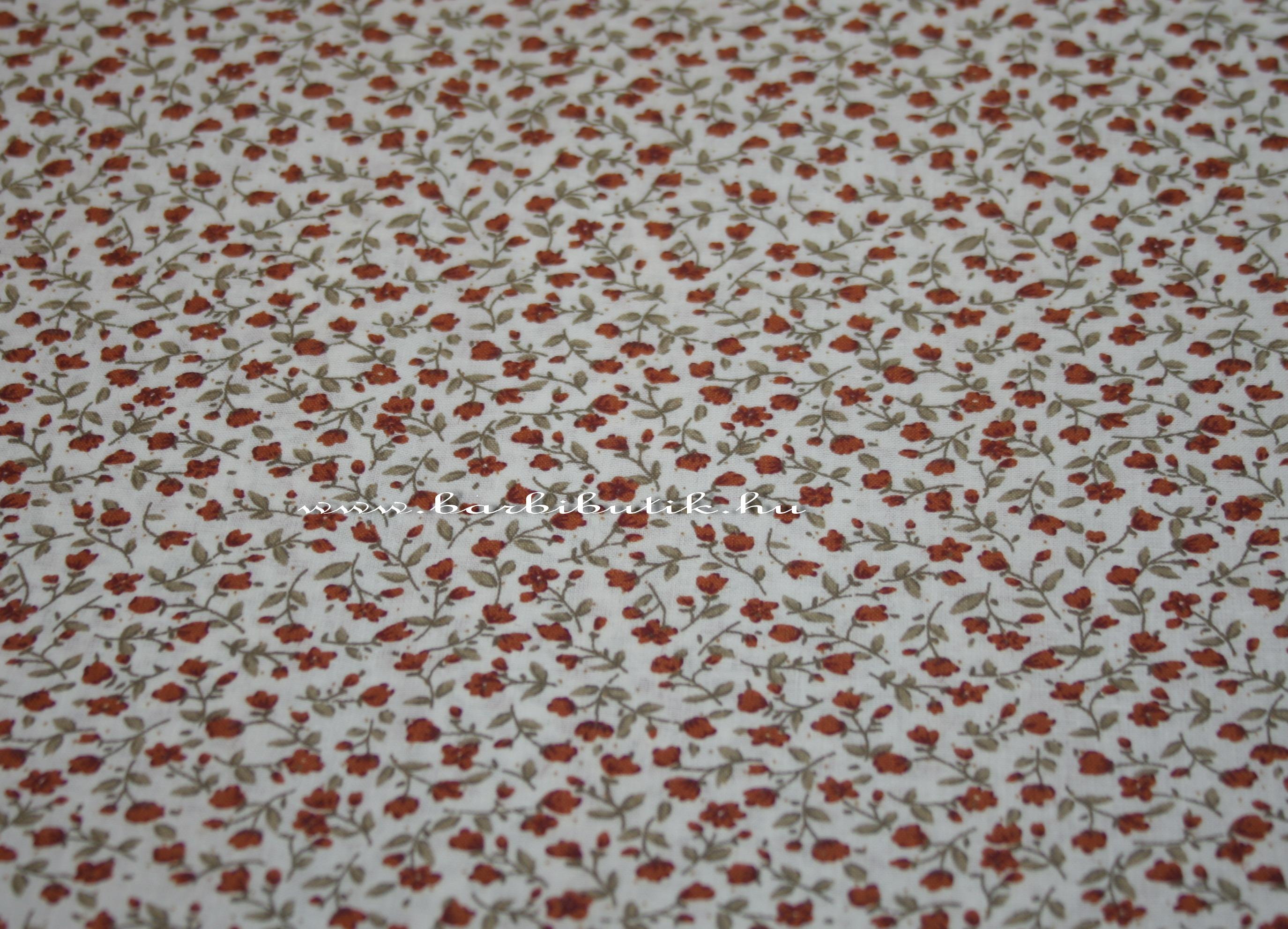 piros apró virágos textil