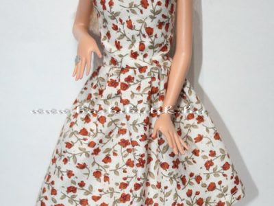 virágos V nyakú nyári barbie ruha