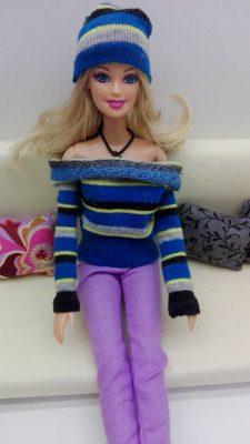 csíkos barbie sapka zokniból