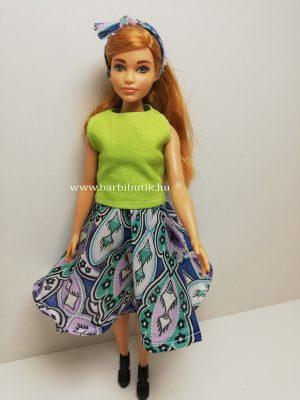 kék mintás barbie harangszoknya zöld felső