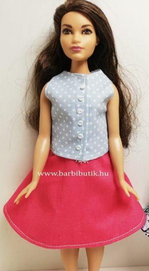 pink dundi barbie harangszoknya kék gombos felső