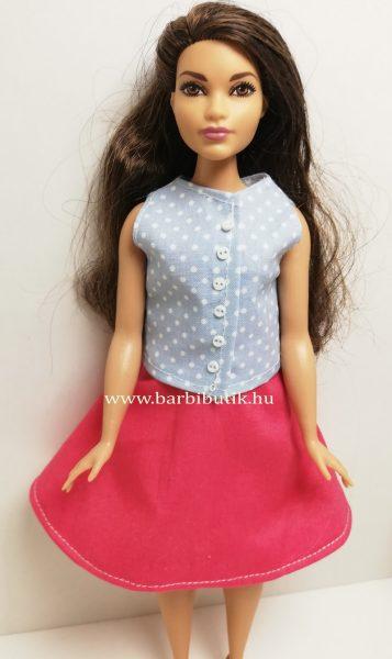 pink dundi barbie harangszoknya kék gombos felső1